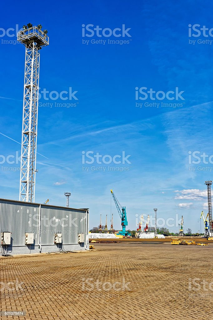 Container terminal in Ventspils in Latvia stock photo