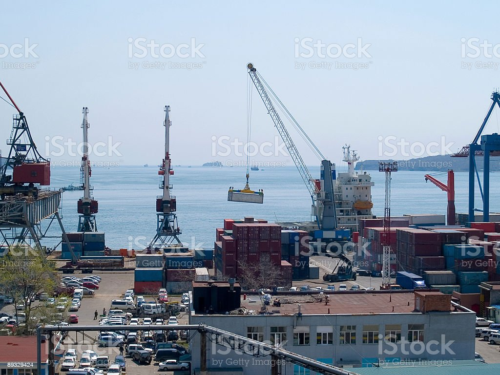 container terminal in Vladivostok harbor royalty-free stock photo