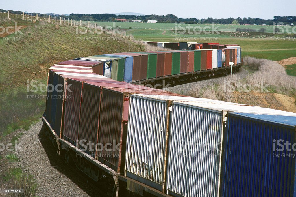 Container train rounding tight curve stock photo