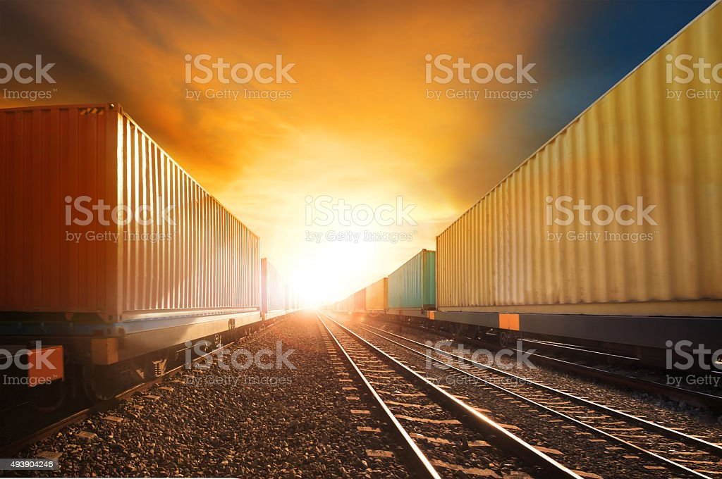 container trains in land transport and logistic industry stock photo