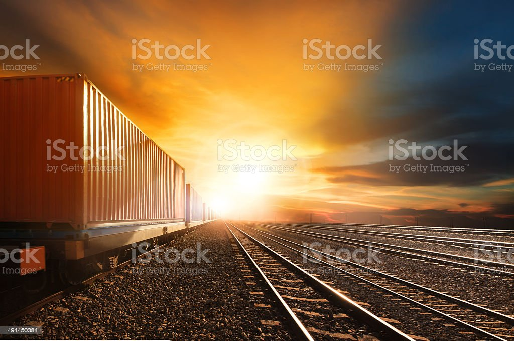 container trains on railways track stock photo
