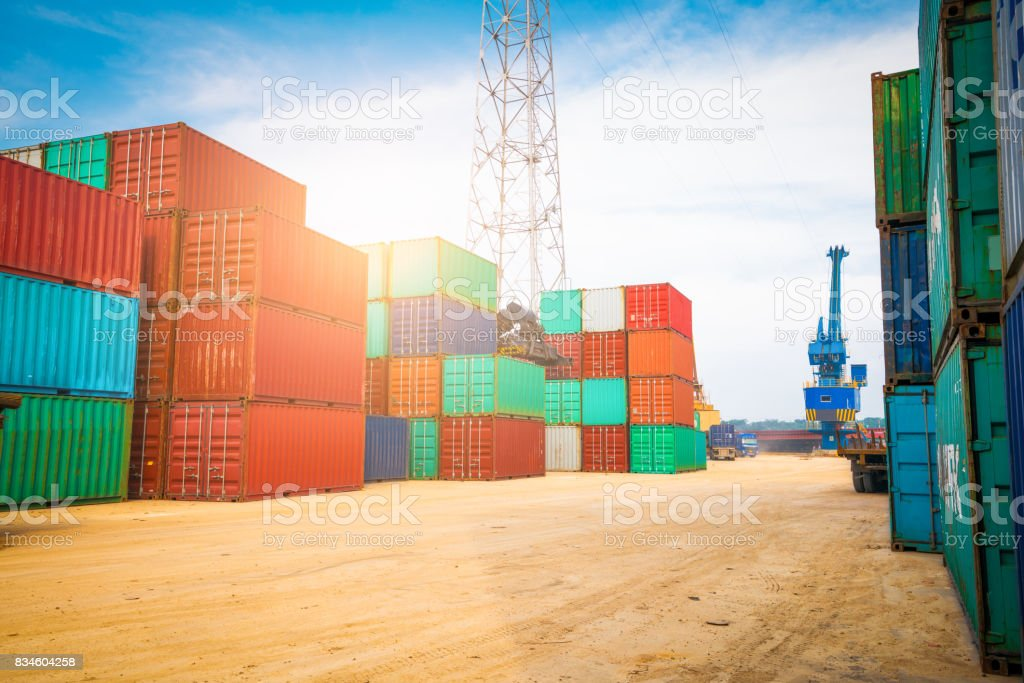 Container transport terminals stock photo