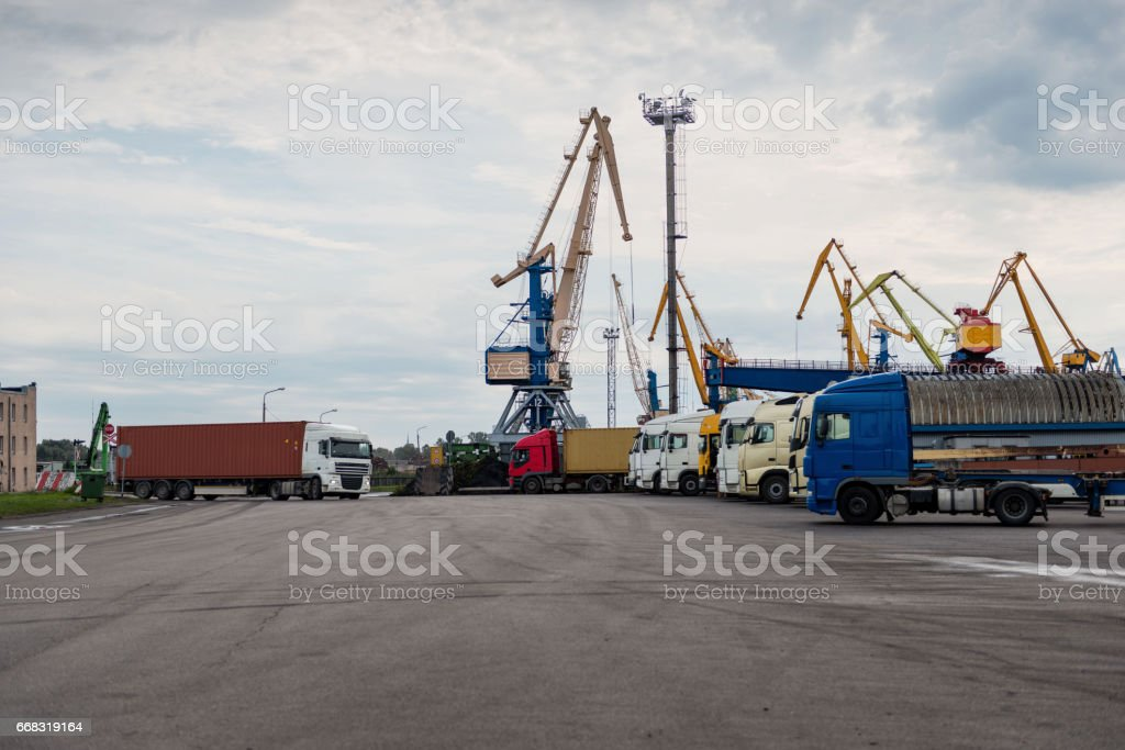 Container transshipment port. stock photo