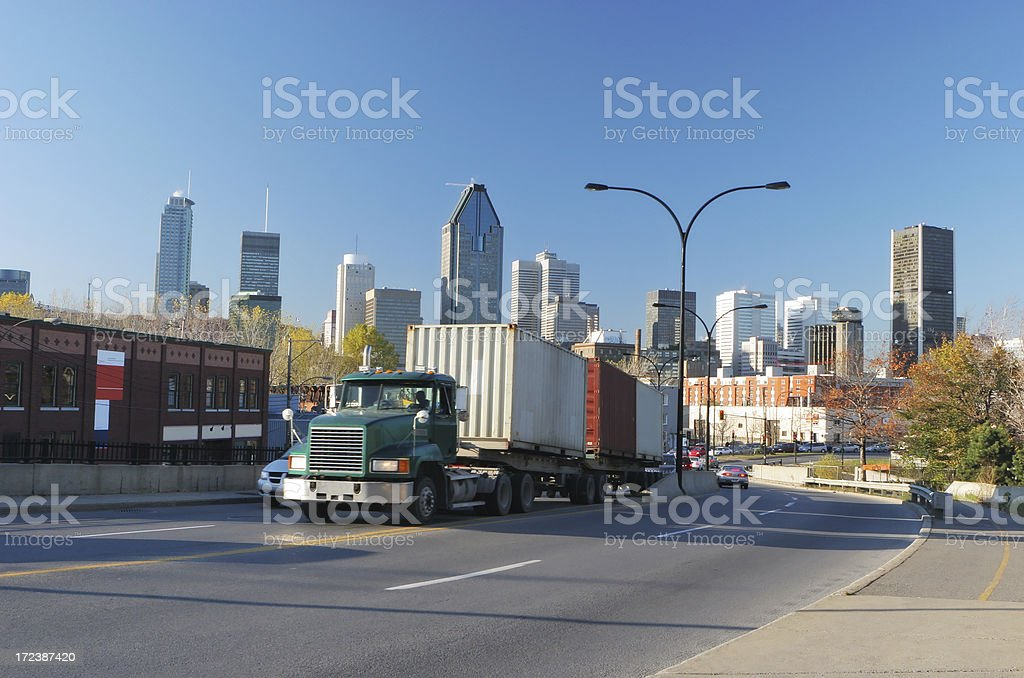 Container truck coming from Montreal city royalty-free stock photo