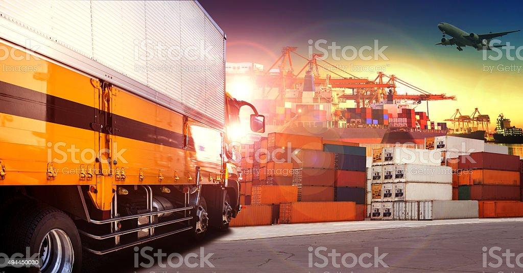 container truck in shipping port stock photo