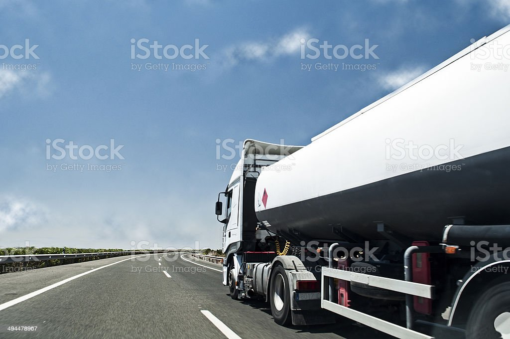 Container truck on the road stock photo