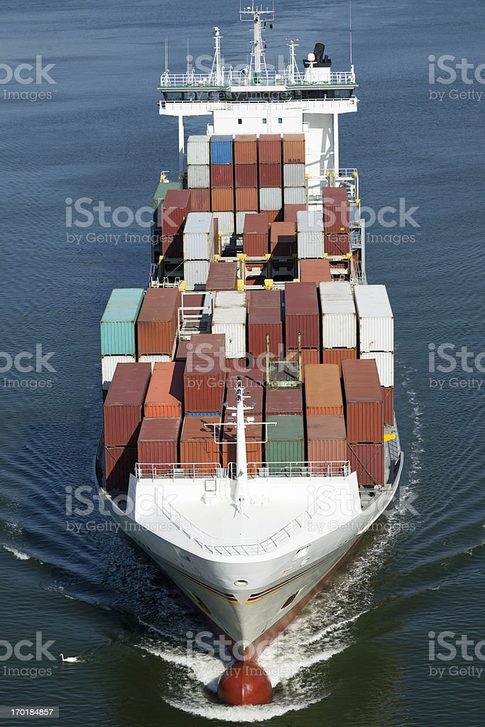 Container vessel on Kiel Canal stock photo