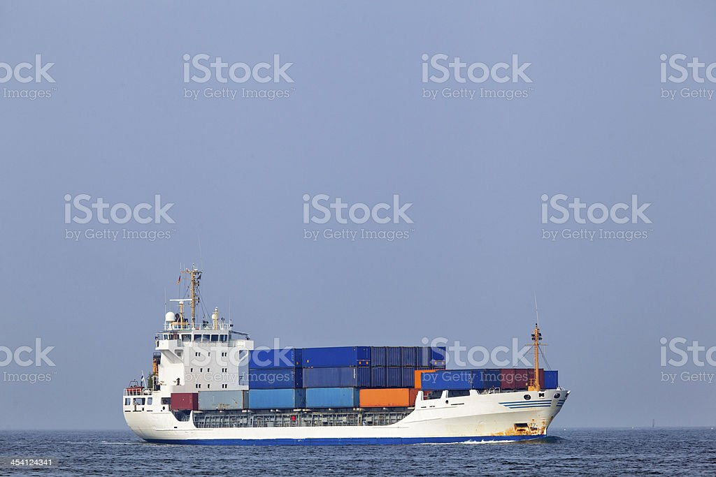 Container vessel on the Baltic Sea stock photo