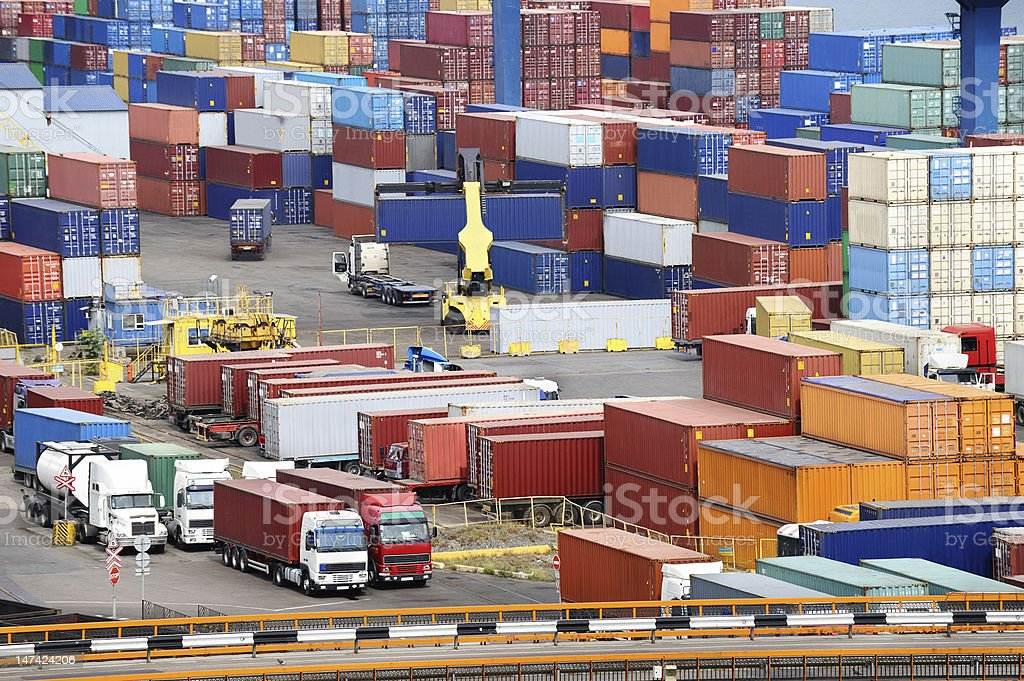 container warehouse and truck stock photo