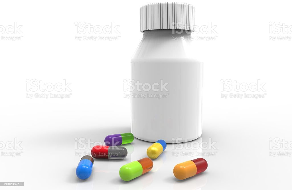 Container with pills stock photo