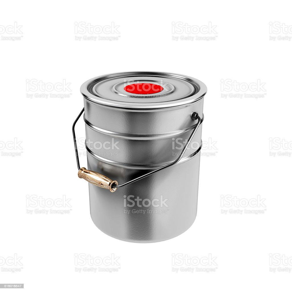 Container with red paint stock photo