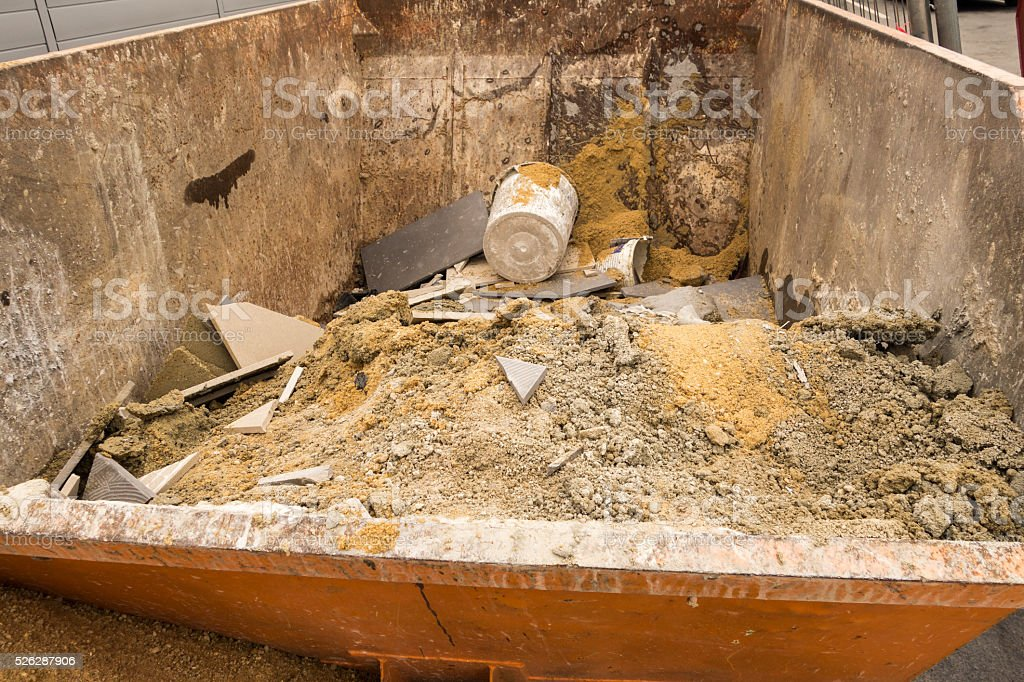 container with rubble stock photo
