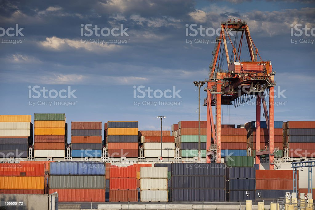 Container Yard and Crane, Seattle royalty-free stock photo