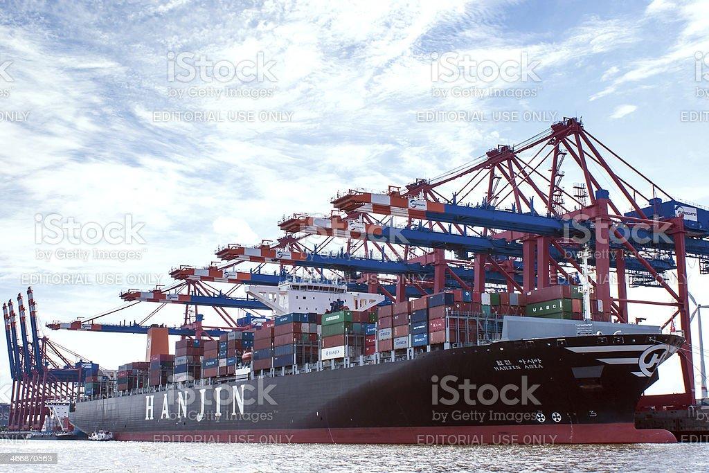 Container-harbour Hamburg stock photo