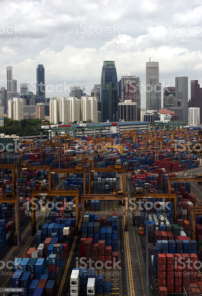 Containers and city skyline, Singapore stock photo