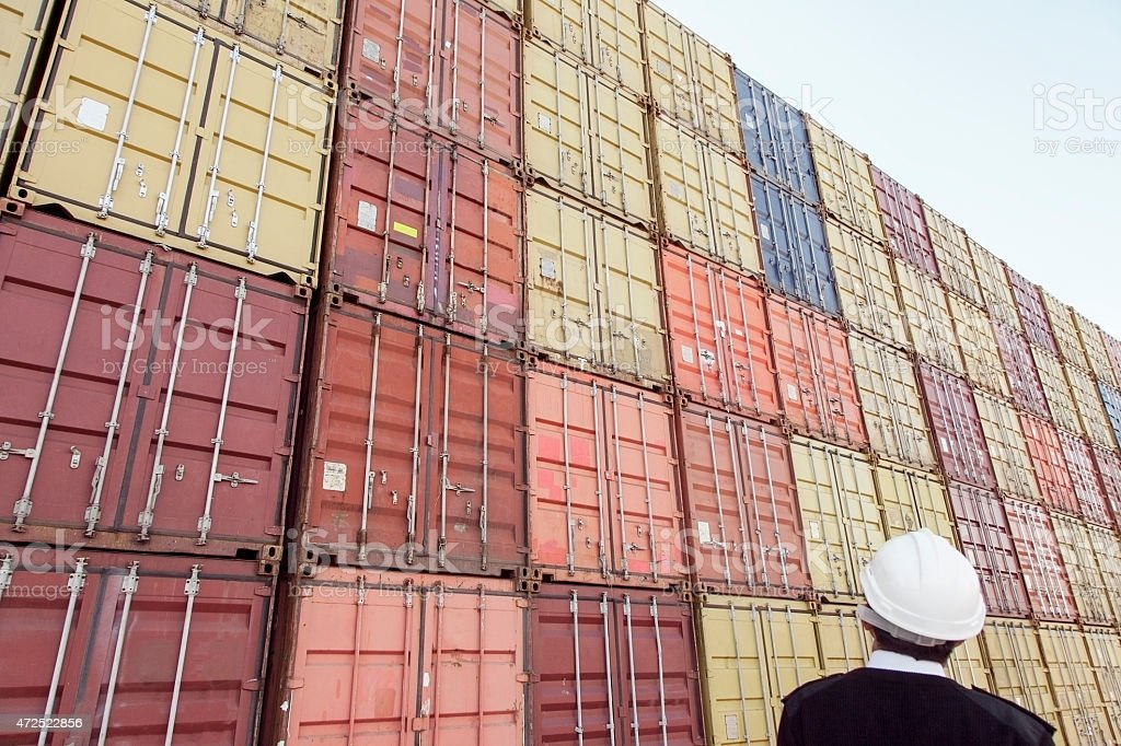 Containers and security stock photo