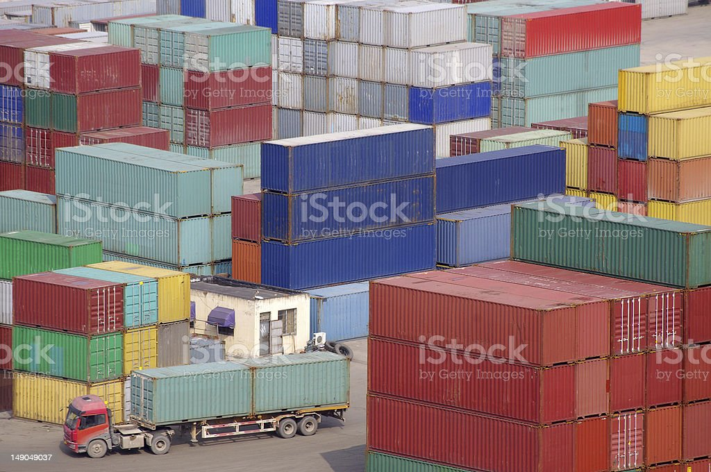 Containers and vehicles royalty-free stock photo