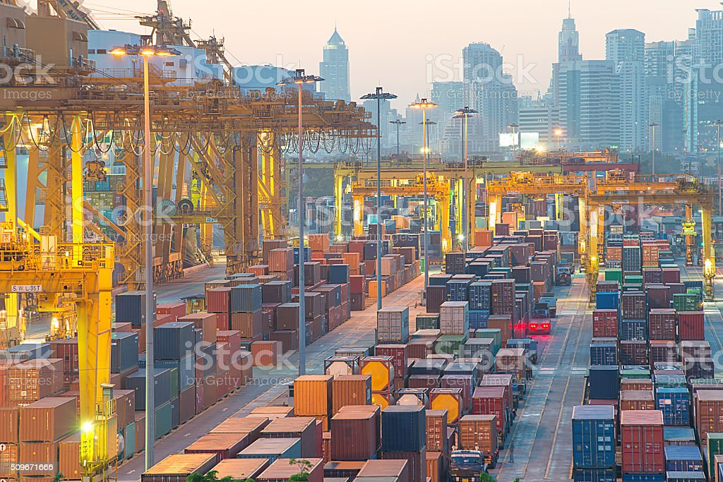 Containers at Bangkok commercial port stock photo