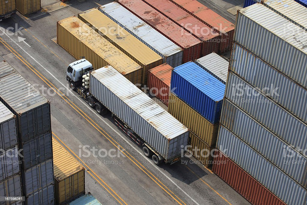 Containers at the Docks with Truck royalty-free stock photo