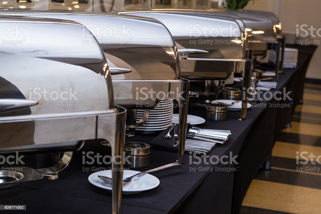 Containers for serving hot meals stock photo