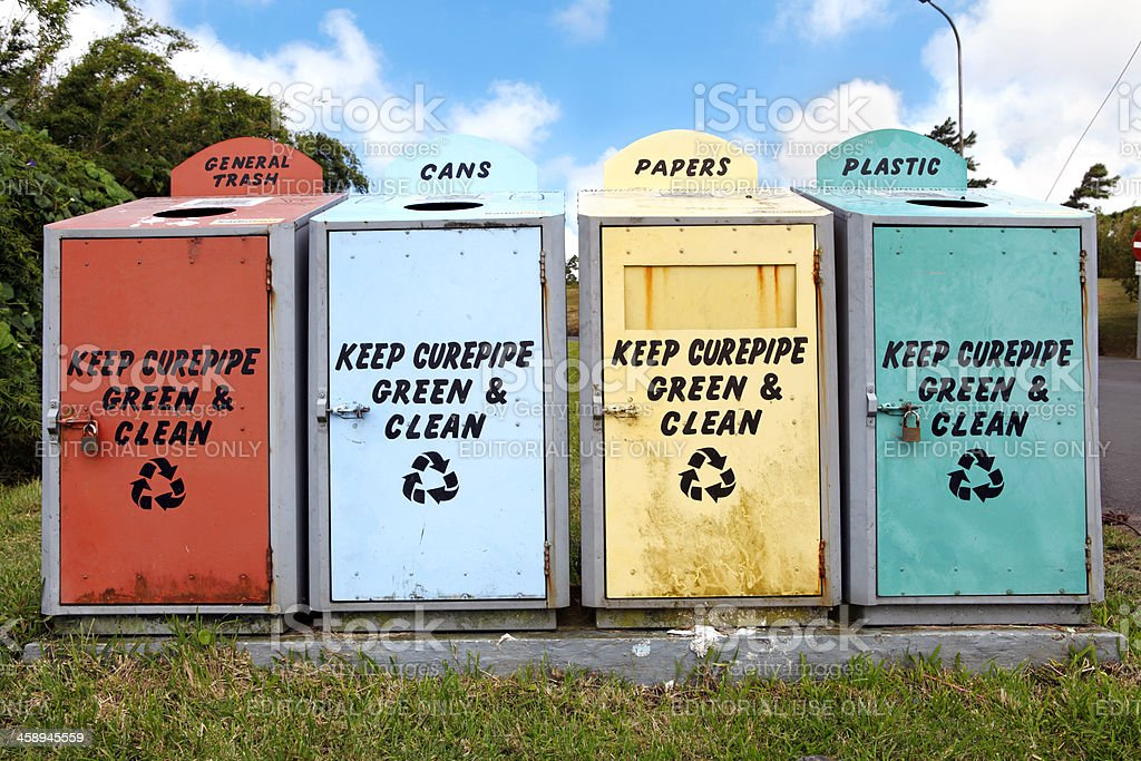 Containers for waste recycling royalty-free stock photo