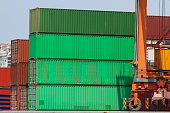 Containers in a port