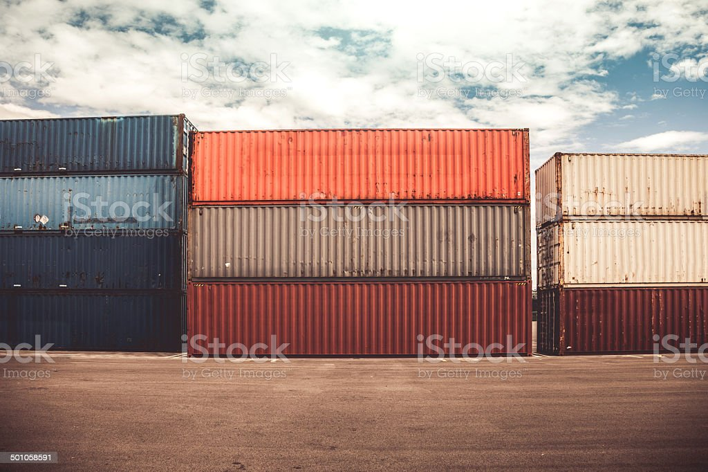 Containers in commercial dock royalty-free stock photo