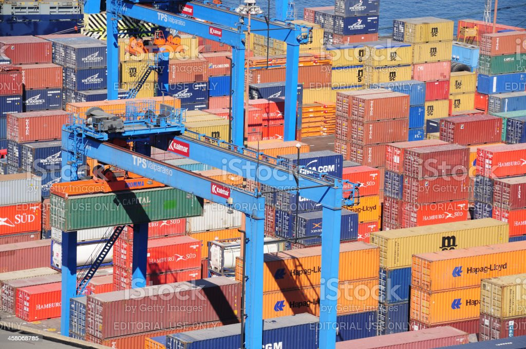 Containers in the Port of Valparaiso royalty-free stock photo