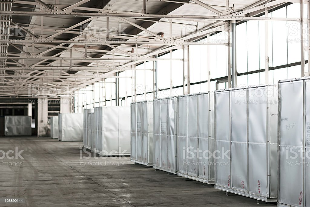 Containers in warehouse stock photo