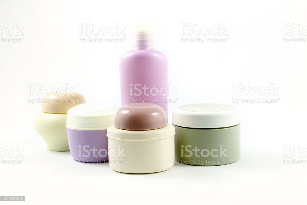 Containers of beauty products without labels stock photo