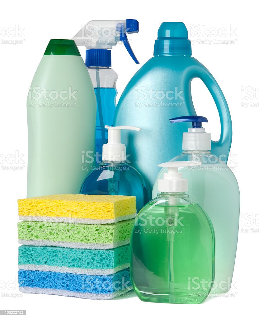 Containers of cleaning supplies royalty-free stock photo