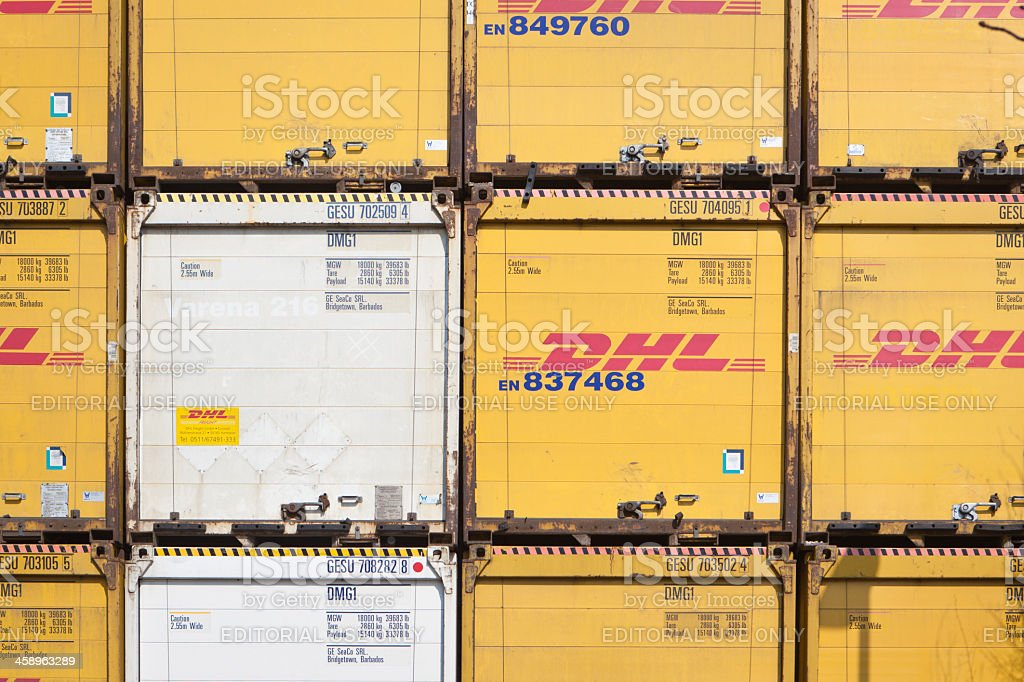 Containers of DHL piled stock photo
