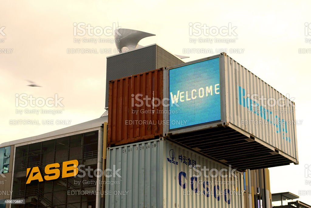 Containers on Silo Park, Auckland's Waterfront Attraction, NZ stock photo