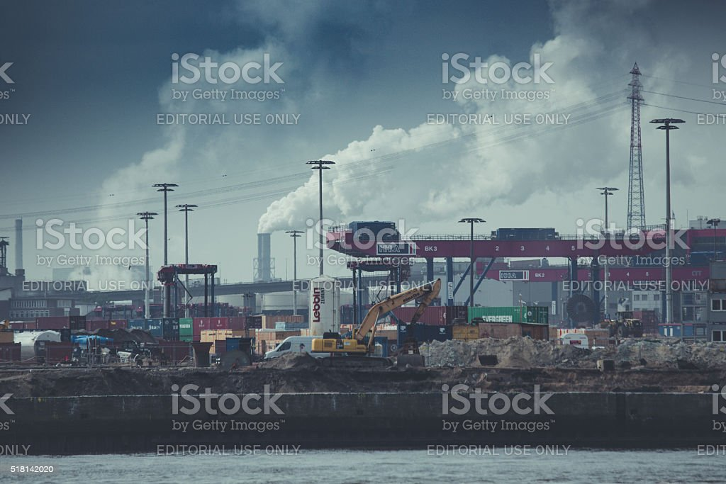 Containers port terminal at the harbor of Hamburg stock photo