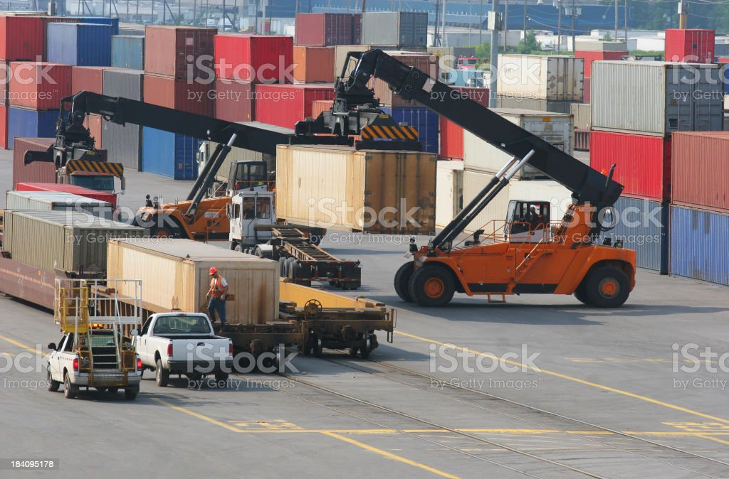 Containers Shipping Yard and Equipments royalty-free stock photo