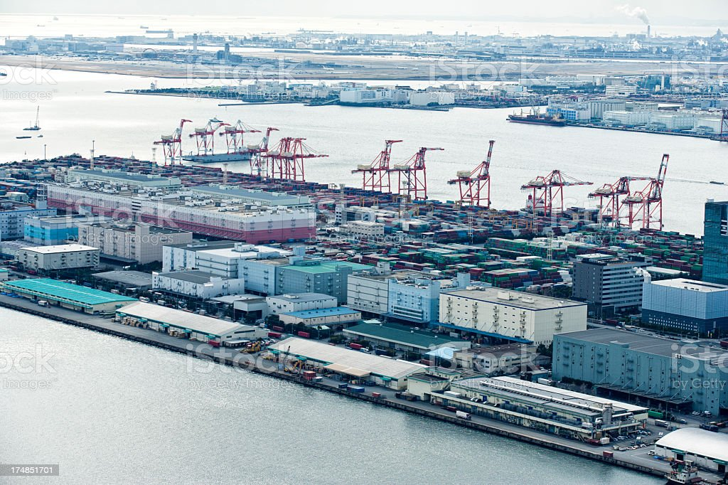 Containers, Ships and Tokyo Skyline royalty-free stock photo
