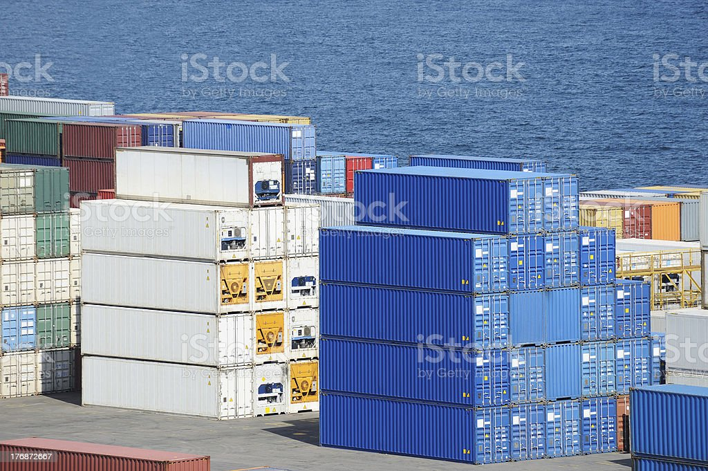containers warehouse and sea royalty-free stock photo