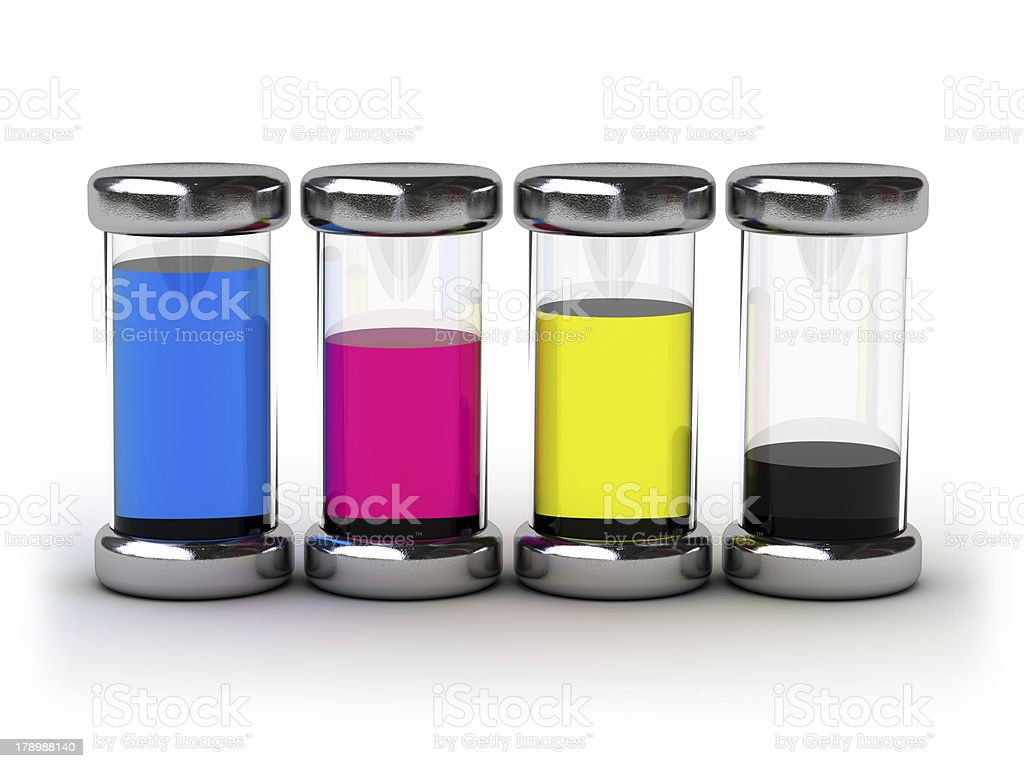 Containers with CMYK ink royalty-free stock photo