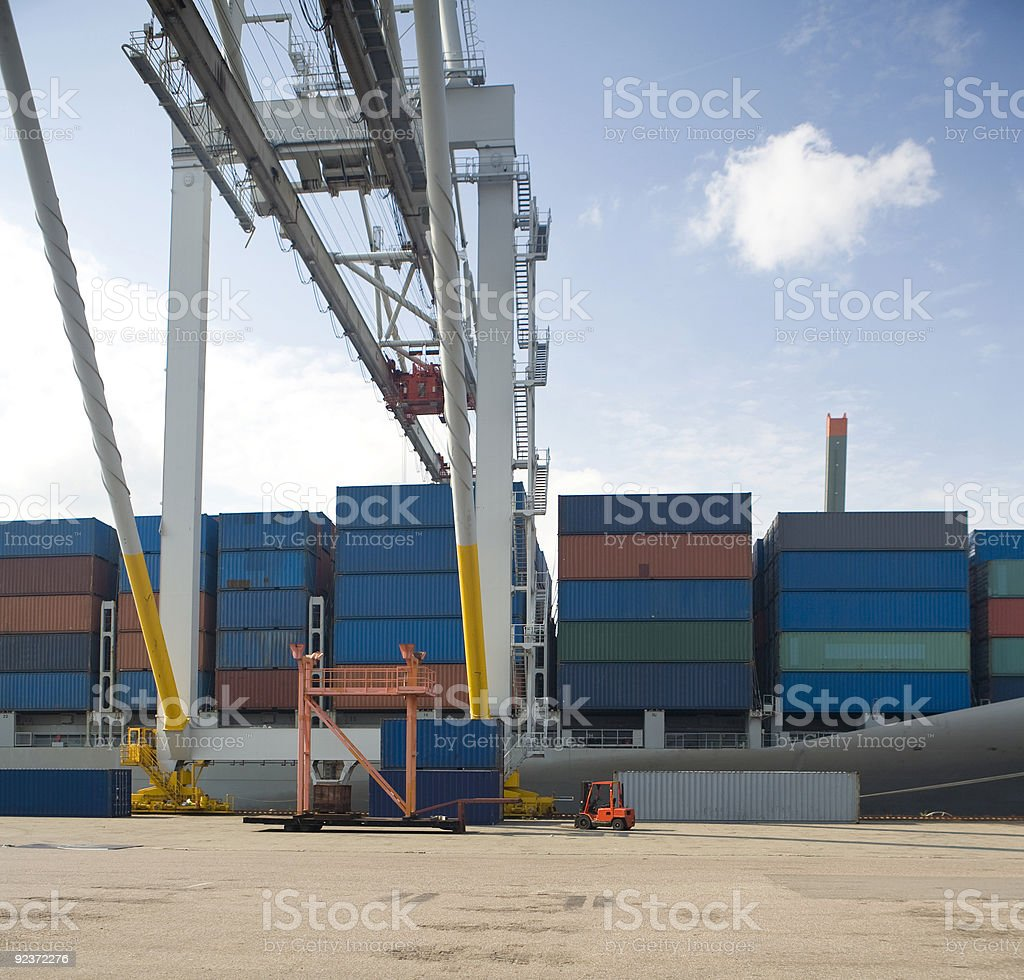 Containership in a harbor royalty-free stock photo