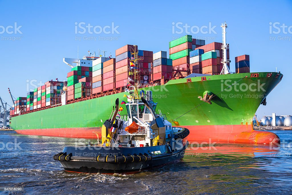 Containership in Hamburg stock photo