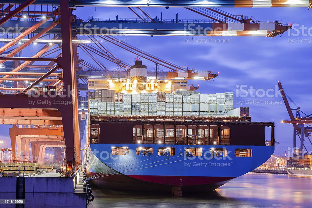 Containerterminal in the harbour of Hamburg stock photo