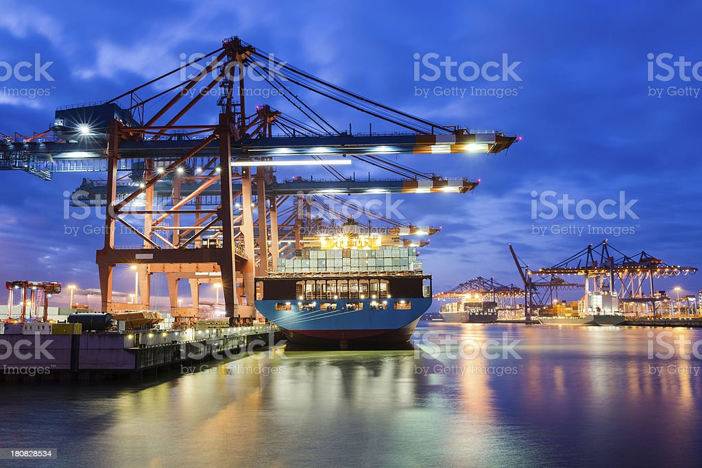 Containerterminal in the harbour stock photo