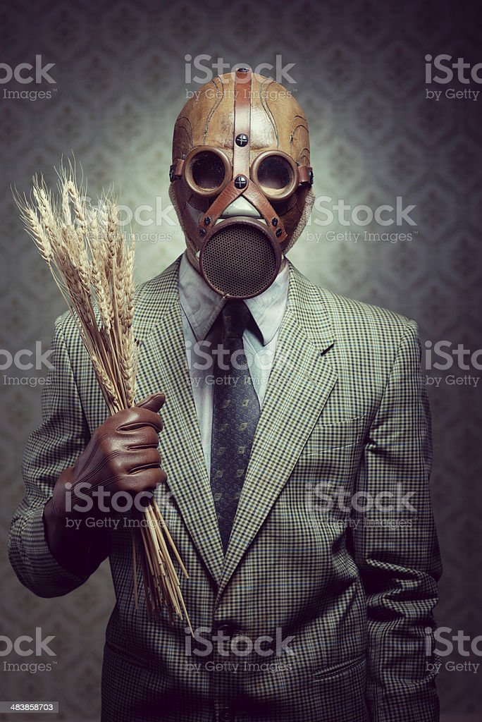 Contaminated food and pollution. stock photo