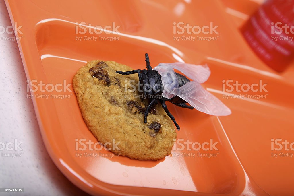 contaminated food - orange lunch tray diet series stock photo