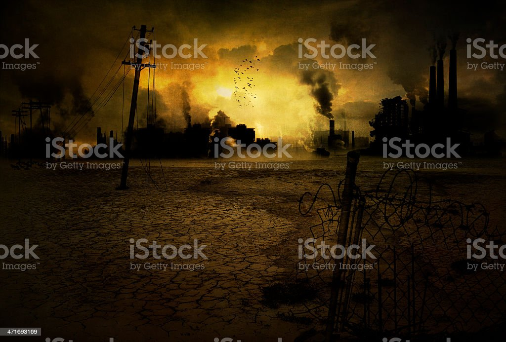 Contaminated industrial town stock photo