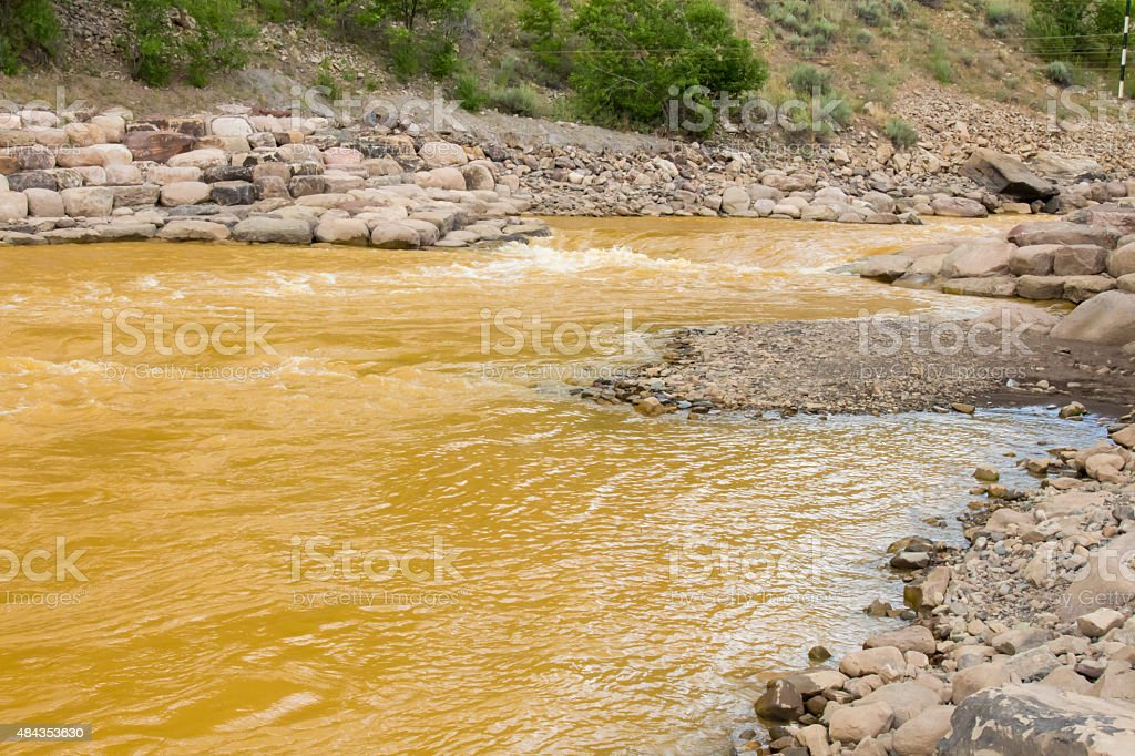 Contamination in the whitewater park in Durango, Colorado stock photo