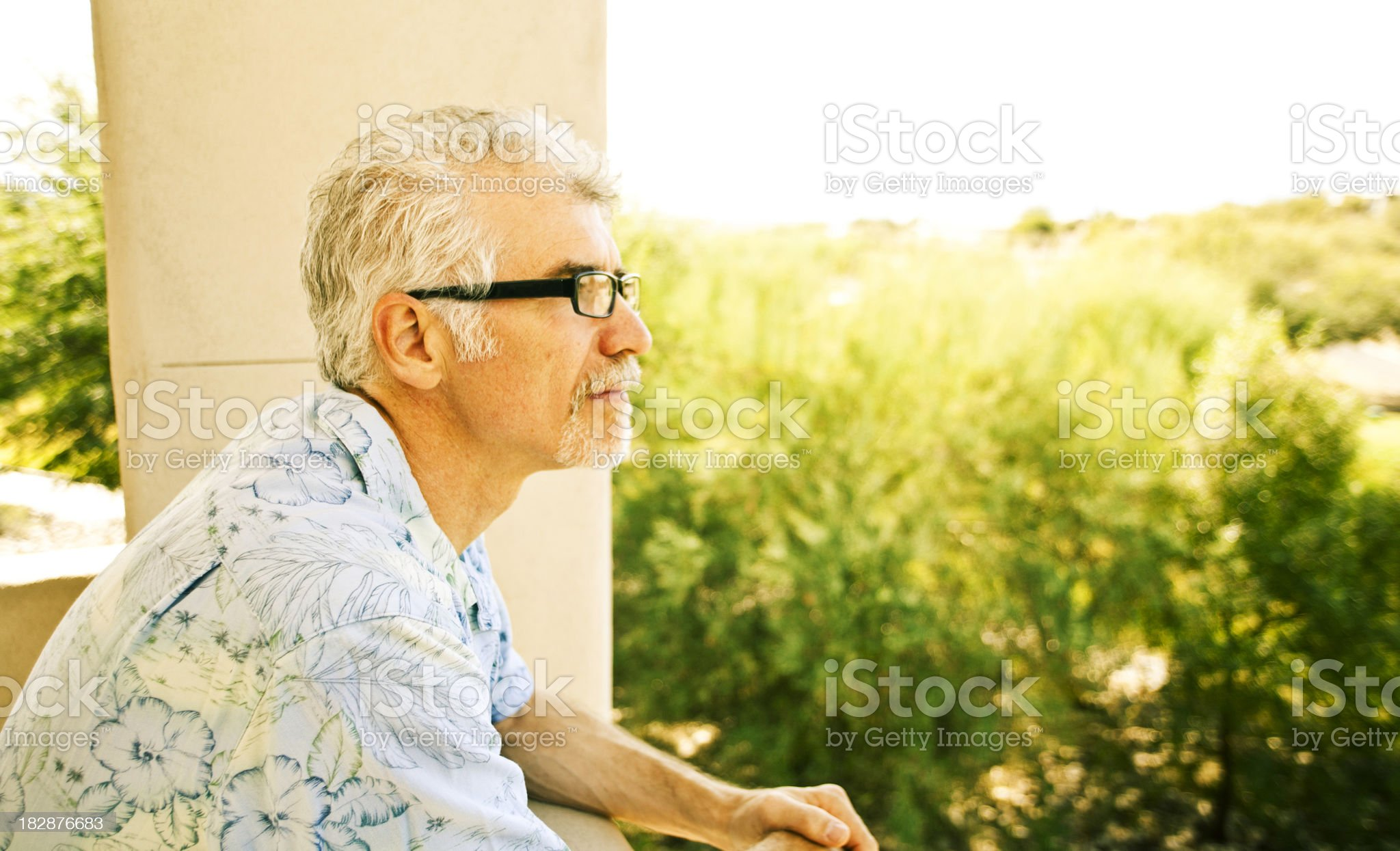 Contemplating: adult male outdoor royalty-free stock photo