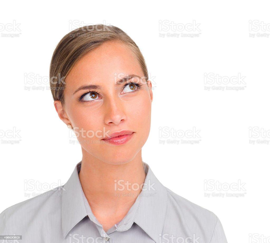 Contemplating her next career move stock photo