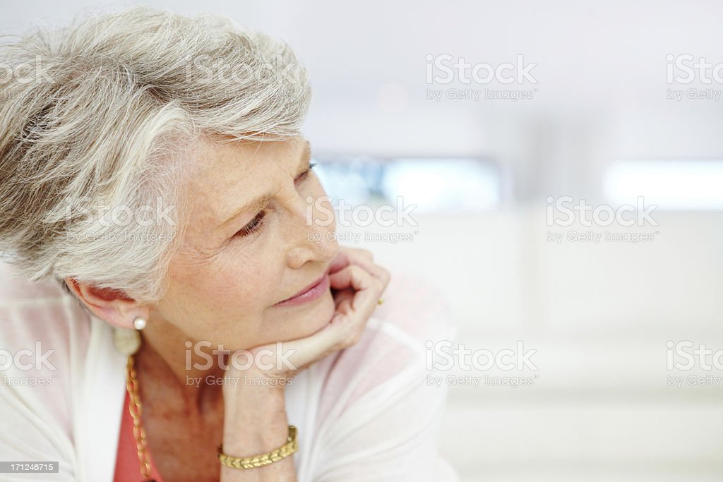 Contemplating her retirement - Insurance/Financial Security royalty-free stock photo