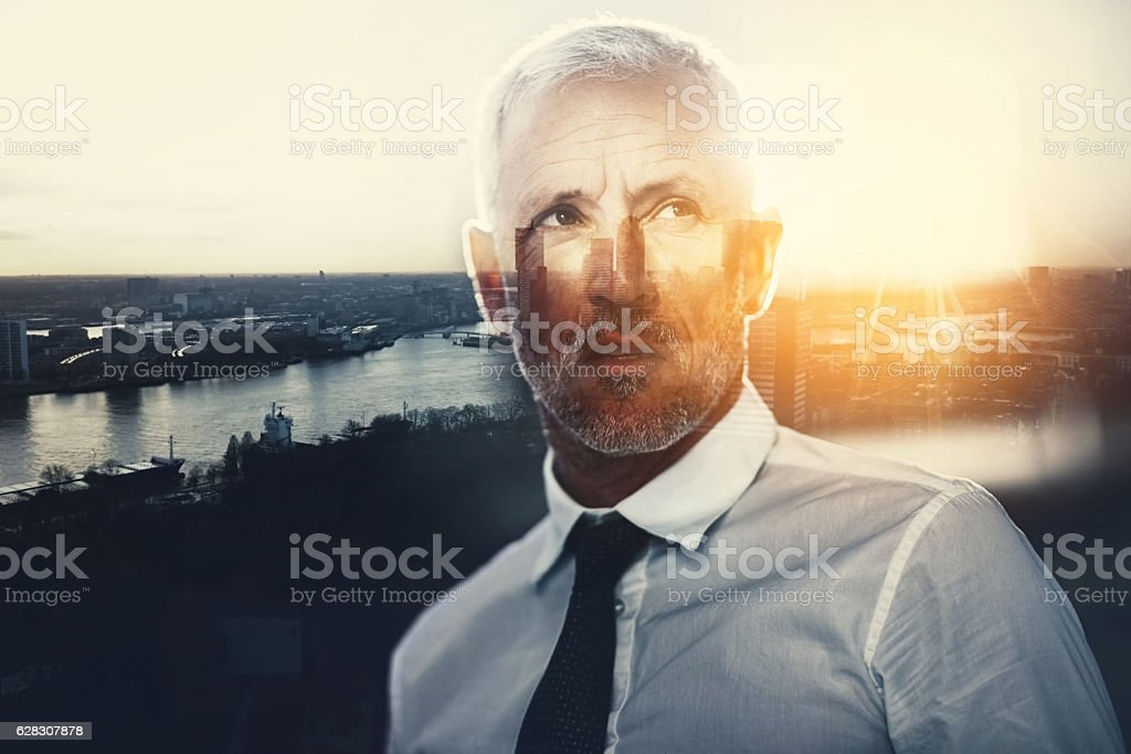 Contemplating how to conquer the city stock photo